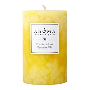 Aroma Naturals Essential Oil Orange and Lemongrass Scented Pillar Candle - Best Scented Candles: All natural and pure ingredients
