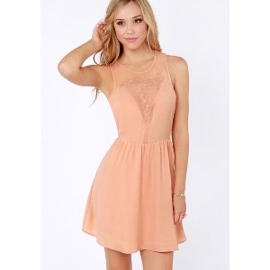 LUSH Art Decollete Embroidered Peach Dress - Best Dresses for Small Chest: The Waistline Flare Into A Full Skirt for The Sweetest Skater Silhouette