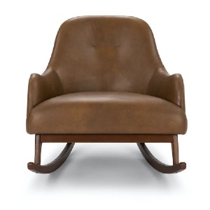 Article EMBRACE - Best Leather Armchair: Solid Wood Rocking Legs