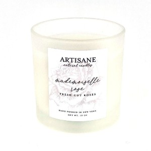 Artisane Mademoiselle Rose Glass Jar Candle | fresh-cut roses - Best Rose Scented Candles: Minimalist Clear Glass Jar