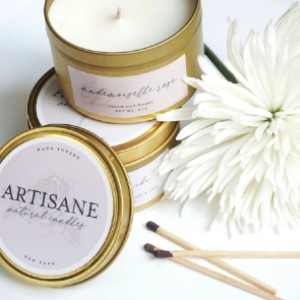 Artisane Mademoiselle Rose Gold Tin Candle | fresh-cut roses - Best Rose Scented Candles: Classic Gold Tin Scented Candle