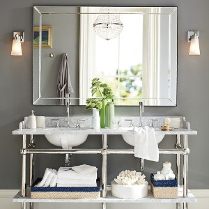 Pottery Barn Astor Double Wide Rectangular Mirror - Best Mirror for Bathroom: Wide Beveled Frame