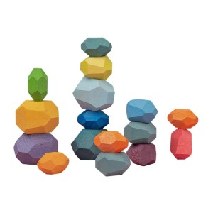 Atzi Hats Balancing Wooden Blocks Rainbow  - Best Wooden Toys for Toddlers: Improving creative thinking skills