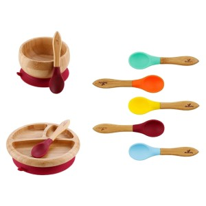 Avanchy Bamboo Baby Spoons Set - Best Spoon for Baby Self-Feeding: Larger Head and Shorter Handle Making Mealtime Enjoyable