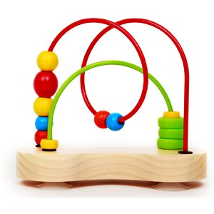 Hape Double Bubble Wooden Bead Maze Multicolor - Best Wooden Toys for Babies: It won't fall over