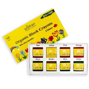 Azafran Organic Crayon 8 Colors Pack - Best Crayons for Baby: Plant-Based Crayons