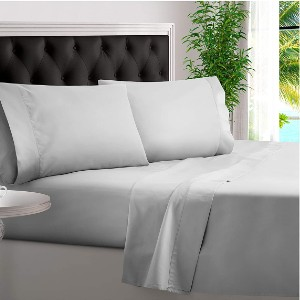 BAMPURE 100% Organic Bamboo Sheets - Best Bamboo Bed Sheets: Four Piece Deep Pocket Luxury Sheets