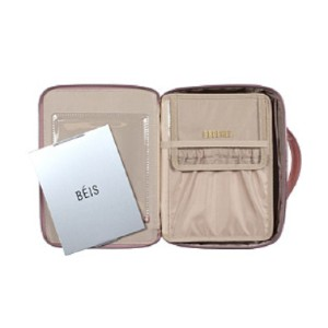 BÉIS The Cosmetic Case Pink - Best Makeup Organizer Bag: Storage Bag with Mirror