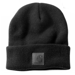 Carhartt BLACK LABEL WATCH HAT - Best Beanies for Big Heads: Black Carhartt Label Sewn On Front