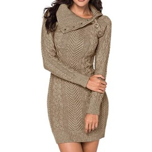 BLENCOT Women's Turtleneck Chunky Cable Knit - Best Knit Dresses: Warm in style