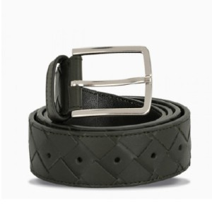 BOTTEGA VENETA Green/silver intreccio weave belt - Best Men's Belt for Jeans: Unique Design Leather Belt