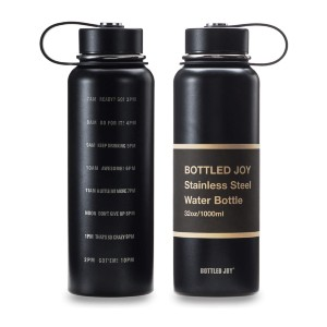 BOTTLED JOY  32oz Water Bottle - Best Water Bottle with Time Marker: Equipped with A Leak-Proof Lid