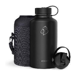 BUZIO Insulated Water Bottle with Straw Lid and Flex Cap - Best Water Jugs for Sports: 3 Caps Jug