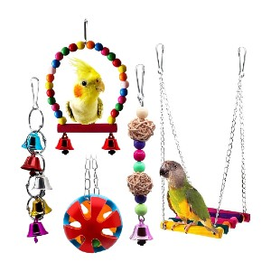 BWOGUE 5pcs Bird Parrot Toys Hanging Bell - Best Bird Toys for Conures: Great for first-timer