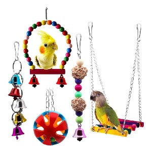 BWOGUE 5pcs Bird Parrot Toys - Best Bird Toys for Parakeets: Multifunction toys