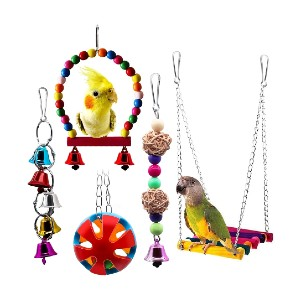 BWOGUE 5pcs Bird Parrot Toys - Best Bird Toys for Cockatiels: Great for first-timer