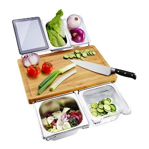 730 HOUSE Extensible Chopping Board  - Best Cutting Board with Trays: With a phone holder!