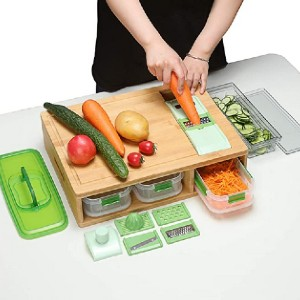 Roman Ventures Bamboo Cutting Board with Containers and Locking Lid - Best Cutting Board with Trays: The most compete pick