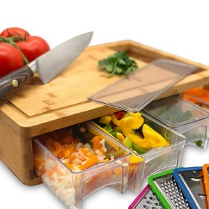SB Simpli Better Bamboo Cutting Board with Trays and Lids - Best Cutting Board with Trays: Comes with four graters