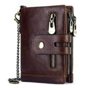 Banggood Men Genuine Leather Wallet RFID - Best Men's Leather Wallets: Comes with A Metal Safety Chain