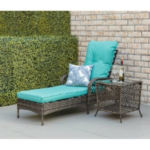 Bayou Breeze Aldusa Reclining Chaise Lounge with Cushion - Best Outdoor Chaise Lounge: Adjustable Backrest Chaise Lounge