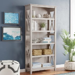 Beachcrest Home™ Cyra Standard Bookcase - Best Solid Wood Bookcases: Cottage-Style Bookcase