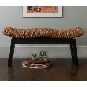 Beachcrest Home™ Vincenza Wood Bench - Best Entryway Benches: Simple Rattan Bench