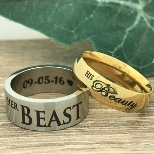Kriskate and Company Beauty and the Beast Rings - Best Couple Rings for Engagement: Perfect for Disney fans