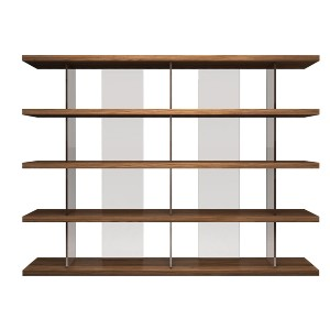 Modern Digs Furniture Beekman Bookcase - Best Bookshelves for Home Library: Tinted Glass Columns In Complementary Colors