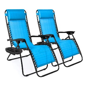 Best Choice Products Set of 2 Adjustable Steel Mesh Zero Gravity Lounge Chair - Best Poolside Chaise Lounge: Zero-Gravity Outdoor Chaise Lounge