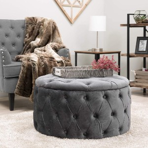 Best Choice Products Velvet Round Modern Button-Tufted Ottoman - Best Coffee Table Ottoman: Button-Tufted Surface