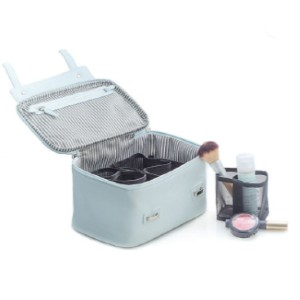 Bey-Berk 4-Piece Leatherette Cosmetic Case - Best Makeup Organizer Bag: Mini Case with 3 Removable Compartments