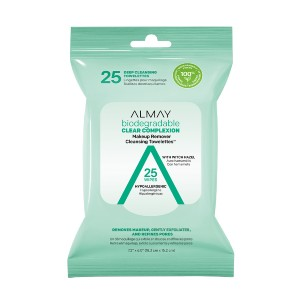 Almay Biodegradable Clear Complexion Makeup Remover Cleansing Towelettes - Best Makeup Remover for Sensitive Skin: Contains 25 Pre-Moistened Makeup Remover Wipes