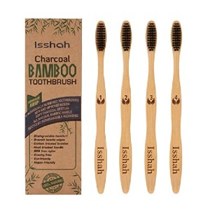Isshah Charcoal Bamboo Toothbrushes - Best Biodegradable Toothbrush: Best for newbies