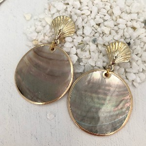 Isabelle Grace Black Lip Shell Earrings - Best Jewelry for Black Dress: Bold and gorgeous
