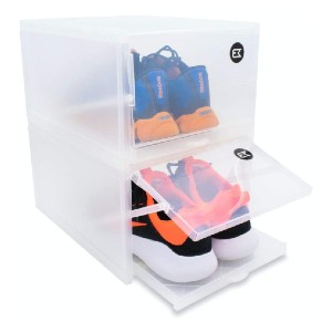 Black Modern Stackable Shoe Storage box - Best Sneaker Storage Boxes: Box with Sliding Tray