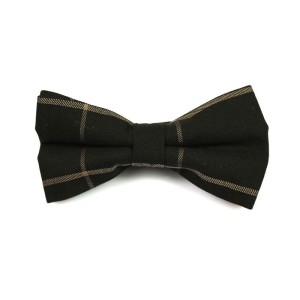 Tie Secret Black and Wood Cotton Striped Butterfly Bow Tie - Best Bow Ties for Weddings:  Simple but presentable