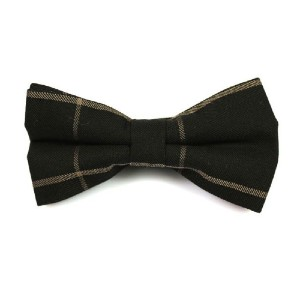 Tie Secret Black and Wood Cotton Striped Butterfly Bow Tie - Best Ties for Black Shirts: Simple but presentable