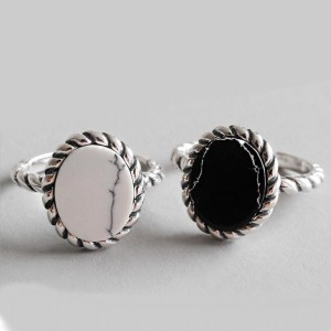 Traceless Black and white Turquoise opening ring  - Best Couple Rings for Engagement: Vintage and classy