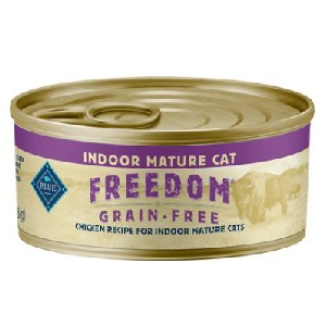 Blue Buffalo Freedom Indoor Mature Chicken Recipe Grain-Free Canned Cat Food - Best Food for Old Cat: Grain-Free Senior Formula