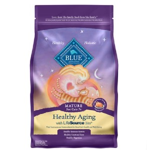Blue Buffalo Healthy Aging Chicken & Brown Rice Recipe Mature Dry Cat Food - Best Food for Old Cat: Healthy Digestive System
