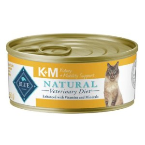Blue Buffalo Natural Veterinary Diet K+M Kidney + Mobility Support Grain-Free Canned Cat Food - Best Food for Cats with Kidney Disease: Good for Joint Health