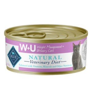 Blue Buffalo Natural Veterinary Diet W+U Weight Management + Urinary Care Grain-Free Canned Cat Food - Best Food for Cat Urinary Health: Chicken and Plant Fiber Formulation