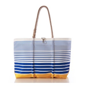 SEA BAGS Blue Ogunquit Beach Tote - Best Tote Bags for Women: Back Stash Pocket for Wet Items