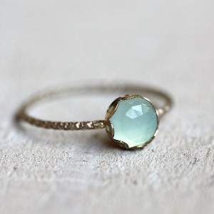 Praxis Jewelry Blue Chalcedony Gemstone Ring - Best Jewelry for Engagement Ring: Simple and elegant