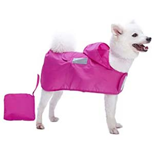 Blueberry Pet Lightweight Packable Hooded Dog Raincoat - Best Raincoats for Corgis: Light and handy
