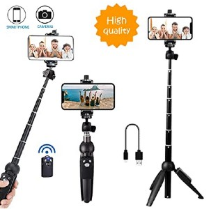 Bluehorn Tripod with Wireless Remote Shutter - Best Selfie Stick Tripods for Smartphone: Compact pocket size