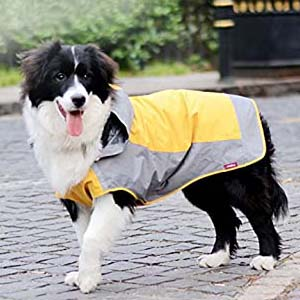 Bolbove Big Dog Hooded Raincoat - Best Raincoats for Big Dogs: Highly adjustable with velcro