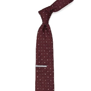 Tie Bar Bond Geos Burgundy Tie - Best Ties for Light Blue Shirts: Eye-catching and bold