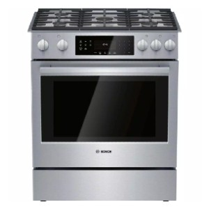Bosch 800 Series 30 in. 4.8 cu. ft. Slide-In Gas Range - Best Gas Ranges for Baking: Excellent self-cleaning cycle